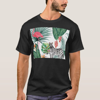 Tropical Watercolor Print- Zebra and Flamingo T-Shirt