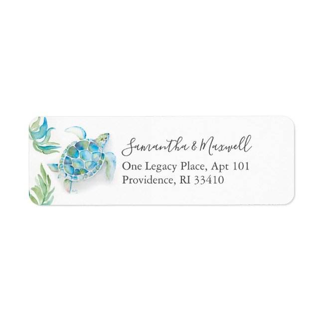 Tropical Watercolor Sea Turtle Address Labels