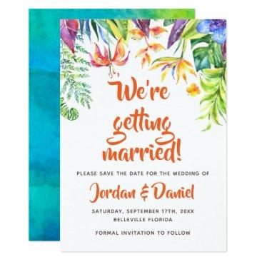 Hawaiian Themed Tropical Watercolor Summer Wedding Save the Date Card