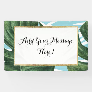 Tropical Watercolor Swiss Cheese Leaf and Zebra Banner