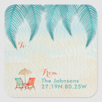 Tropical Watercolor Teal Gift Tags | On the Beach
