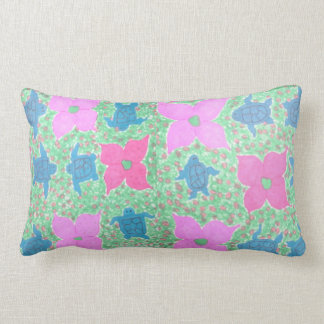 Tropical Watercolor Turtles and Flowers Pillow