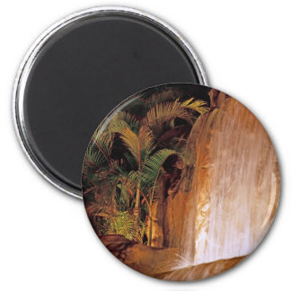 Tropical Waterfall 2 Inch Round Magnet