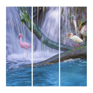 Tropical Waterfall, Flamingo and Ibis Triptych