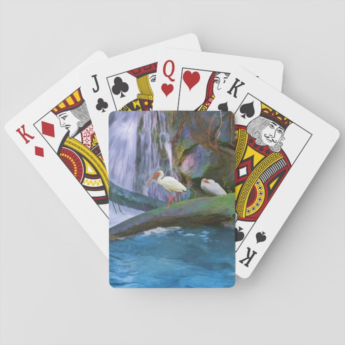 Tropical Waterfall, White Ibises Birds Playing Cards