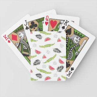 Tropical Watermelon & Crocodile Pattern Bicycle Playing Cards