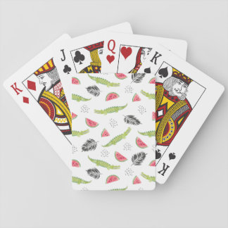 Tropical Watermelon & Crocodile Pattern Playing Cards