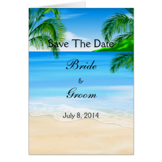 Tropical Waters Beach Wedding Save The Date Card