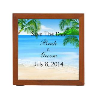 Tropical Waters Beach Wedding Save The Date Desk Organizer