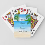 "Tropical Waters Beach Wedding Save The Date Playing Cards<br><div class=""desc"">Beach theme Wedding Save The Date announcements with tropical blue waters and palm trees. Great wedding announcements for beach or destination weddings. Beach art featuring a sandy beach,  palm trees,  and tropical blue waters background for your personalized invitation. Matching RSVP,  Thank You&#39;s,  and additional wedding products available.</div>"
