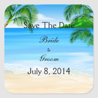 Tropical Waters Beach Wedding Save The Date Square Sticker