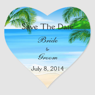 Tropical Waters Beach Wedding Save The Date Heart Stickers