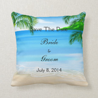 Tropical Waters Beach Wedding Save The Date Throw Pillow