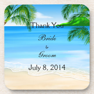 Tropical Waters Beach Wedding Thank You Beverage Coaster