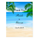 Tropical Waters Beach Wedding Thank You Postcard