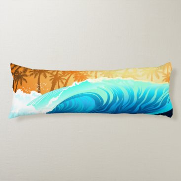 Tropical wave at sunrise body pillow