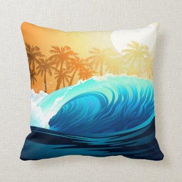 Beach Themed Tropical wave at sunrise throw pillow