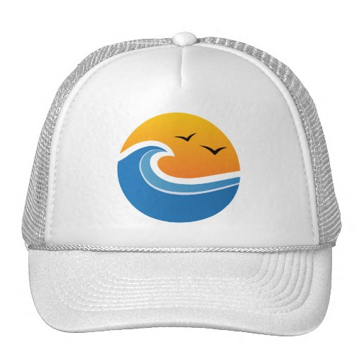 Tropical wave in front of sunrise or sunset hat