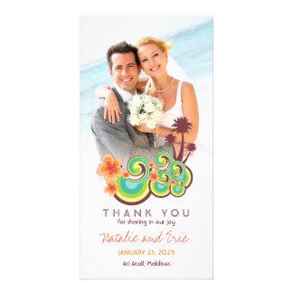 Tropical Waves Hibiscus Beach Wedding Thank You Card