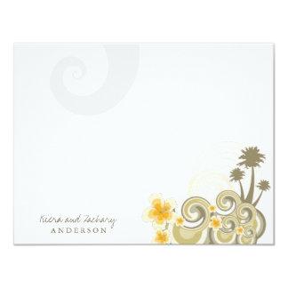 Tropical Waves Hibiscus Fun Wedding Thank You Card Invitation