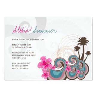 Tropical Waves Hibiscus Hawaiian Luau Summer Party 4.5x6.25 Paper Invitation Card