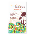 Tropical Waves Hibiscus Summer Beach Palm Trees Double-Sided Standard Business Cards (Pack Of 100)