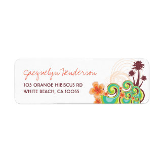 Tropical Waves Hibiscus Wedding Address Labels