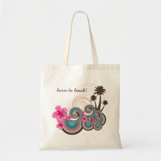Tropical Waves Hot Pink Hibiscus Beach Palm Trees Canvas Bag
