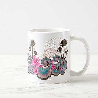 Tropical Waves Hot Pink Hibiscus Beach Palm Trees Coffee Mug
