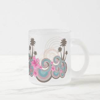 Tropical Waves Hot Pink Hibiscus Beach Palm Trees Frosted Glass Coffee Mug