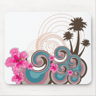 Tropical Waves Hot Pink Hibiscus Beach Palm Trees Mouse Pad