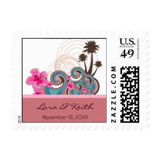 Tropical Waves Pink Hibiscus Announcement Stamps