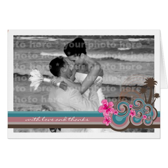 Tropical Waves & Pink Hibiscus Thank You Card