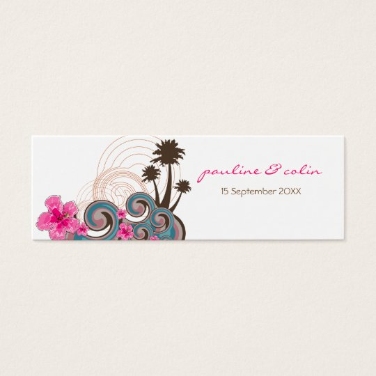 Tropical Waves & Pink Hibiscus Thank You /Gift Tag