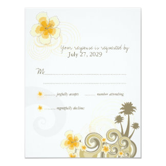 Tropical Waves Yellow Hibiscus RSVP Response Card Invite