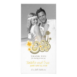 Tropical Waves Yellow Hibiscus Wedding Thank You Card