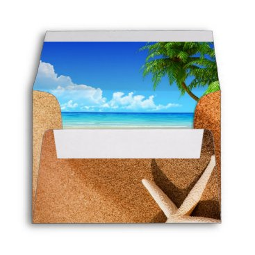 Tropical Wedding Beach Scene Envelope
