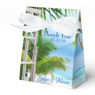 Beach Themed Tropical Wedding Beach Scene Favor Box
