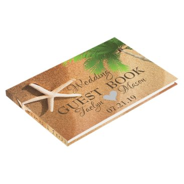 Tropical Wedding Beach Scene Guest Book