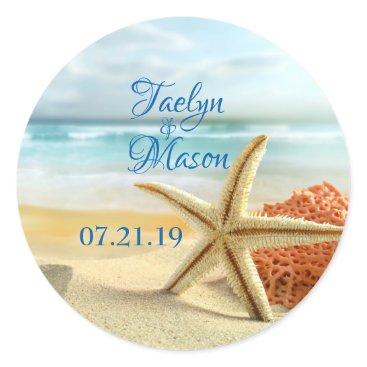 Beach Themed Tropical Wedding Beach Scene Sticker