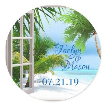 Tropical Wedding Beach Scene Sticker