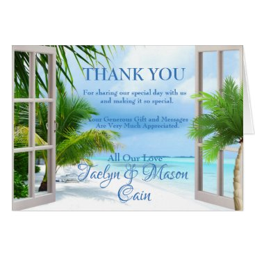 Tropical Wedding Beach Scene Thank You Card