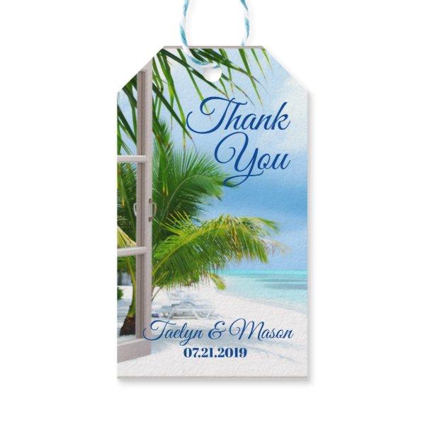 Tropical Wedding Beach Scene Thank You Gift Card Gift Tags