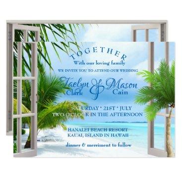 Tropical Wedding Beach Scene Wedding Invitation