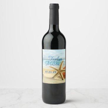 Beach Themed Tropical Wedding Beach Scene Wine Bottle Label