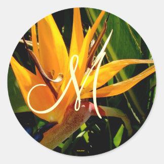 Tropical Wedding Bird of Paradise Monogram Sticker