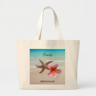 Tropical Wedding Bridal Party Personalized Tote Jumbo Tote Bag
