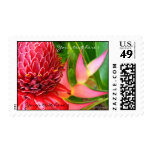 Tropical Wedding Ginger Heliconia Custom Stamp Postage Stamp