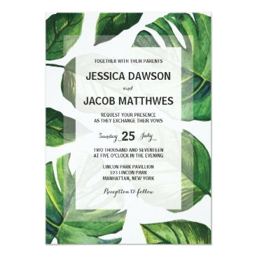 Beach Themed Tropical Wedding Invitation, Beach Wedding Card
