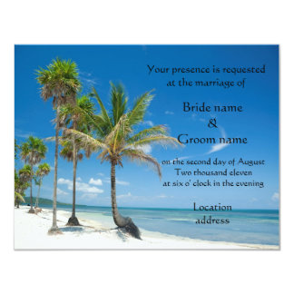 "Tropical Wedding Invitations or beach party 4.25"" X 5.5"" Invitation Card"
